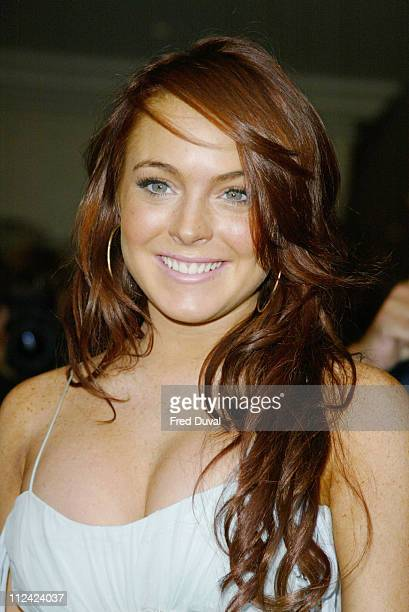 Lindsay Lohan during 'Mean Girls' London Premiere at Charlotte Street Hotel in London Great Britain