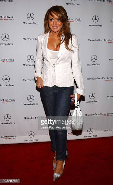 Lindsay Lohan during MercedesBenz Fall 2004 Fashion Week at Smashbox Studios Day 5 Arrivals at Smashbox Studios in Culver City California United...