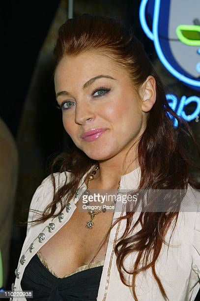 Lindsay Lohan during Napster Launches Napster To Go Cafe Tour with Free Music and MP3 Players at The Coffee Shop in New York City New York United...