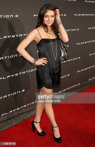 Lindsay Lohan during PLAYSTATION 3 Launch Red Carpet at 9900 Wilshire Blvd in Los Angeles California United States