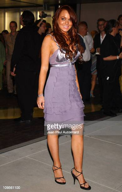 Lindsay Lohan during Prada Opens Beverly Hills Epicenter Arrivals at Rodeo Drive in Beverly Hills California United States