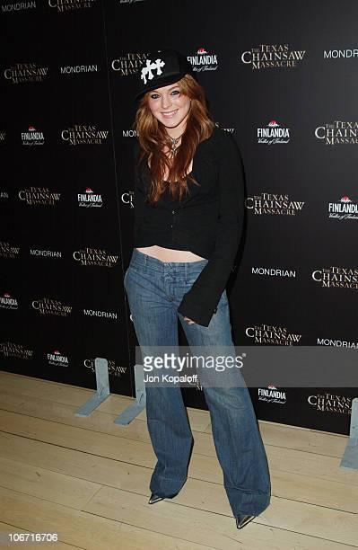 Lindsay Lohan during The Texas Chainsaw Massacre Halloween Party At The Mondrian Hotel at Sky Bar At The Mondrian Hotel in West Hollywood California...