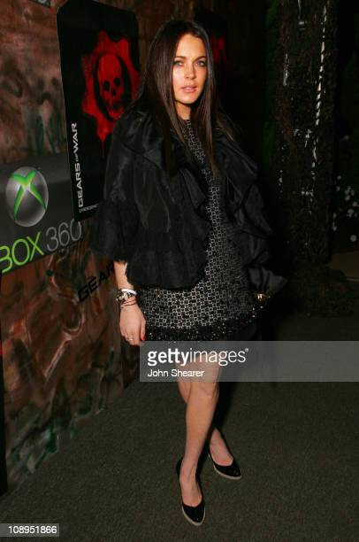 Lindsay Lohan during Xbox 360 Gears of War Launch Party - Red Carpet at Hollywood Forever Cemetery in Hollywood, California, United States.