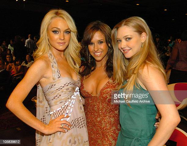 Lindsay Lohan Lacey Chabert and Amanda Seyfried during 2005 MTV Movie Awards Backstage and Audience at Shrine Auditorium in Los Angeles California...