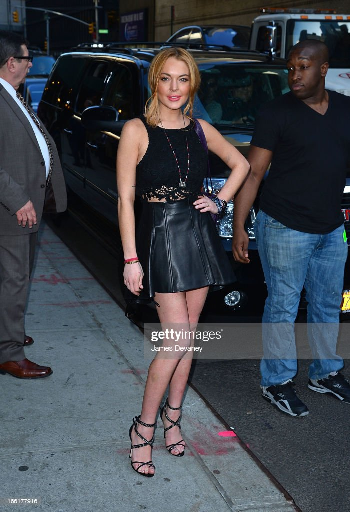 Lindsay Lohan leaves 'Late Show With David Letterman' at Ed Sullivan Theater on April 9, 2013 in New York City.
