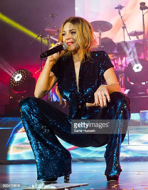 Lindsay Lohan performs live with Duran Duran at The O2 Arena on December 8 2015 in London England