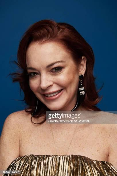 Lindsay Lohan poses at the MTV EMAs 2018 studio at Bilbao Exhibition Centre on November 4 2018 in Bilbao Spain