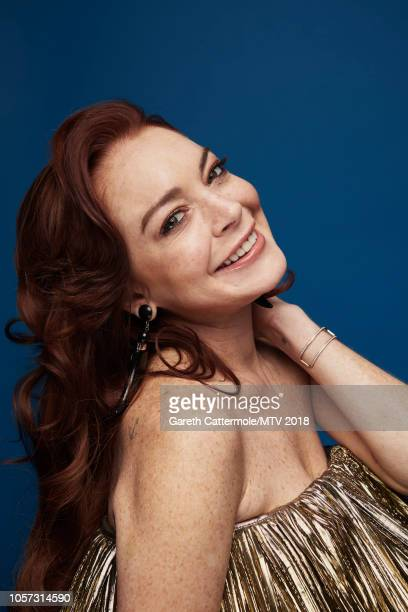 Lindsay Lohan poses at the MTV EMAs 2018 studio at Bilbao Exhibition Centre on November 4 2018 in Bilbao Spain