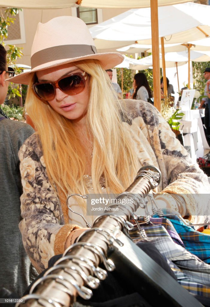 Lindsay Lohan poses with Superdry at the Kari Feinstein MTV Movie Awards Style Lounge held at Montage Beverly Hills on June 3, 2010 in Beverly Hills, California.