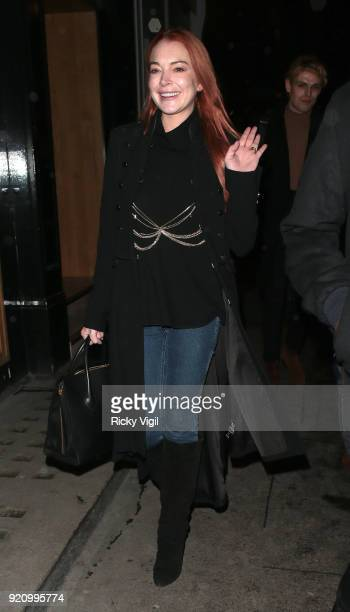 Lindsay Lohan seen attending a fashion party at MNKY HSE in Mayfair during LFW February 2018 on February 19 2018 in London England