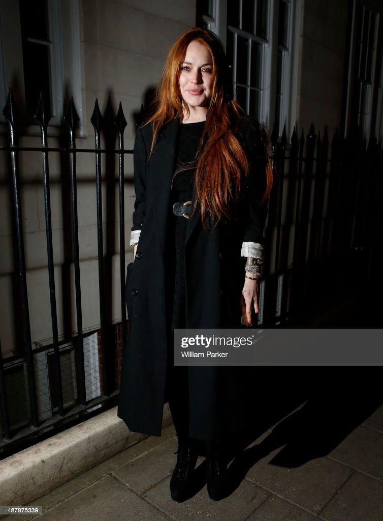 Lindsay Lohan seen leaving C. London on May 2, 2014 in London, England.