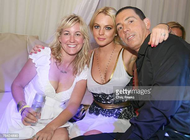 LAS VEGAS JULY 13 Lindsay Lohan Steve Davidovici and an unidentified guest attend Saturday Evening at PURE Nightclub on July 14 2007 in Las Vegas...