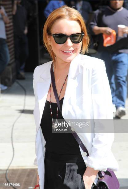 """Lindsay Lohan visits """"Late Show With David Letterman"""" at Ed Sullivan Theater on April 9, 2013 in New York City."""