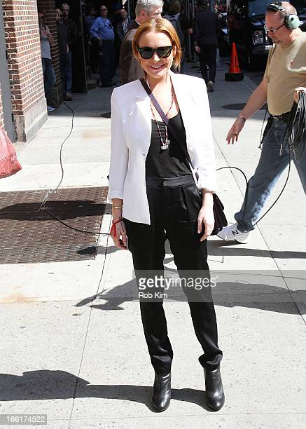 Lindsay Lohan visits Late Show With David Letterman at Ed Sullivan Theater on April 9 2013 in New York City