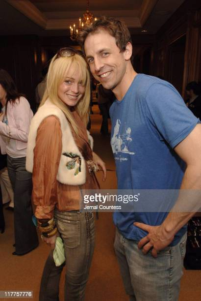 Lindsay Lohan with Seth Meyers during Lucky/Cargo Club Day 1 at Ritz Carlton in New York City New York United States