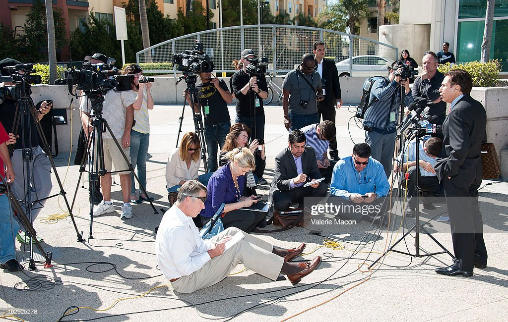 Lindsay Lohan's lawyer Mark Heller gives a press conference while leaving the LAX C on March 1, 2013 in Los Angeles, California.
