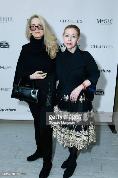 Lindsay McCrum and Cathy Kaplan attends the Aperture Spring Party and Auction Inspired by Dandy Lion at Aperture Foundation on March 31 2017 in New...