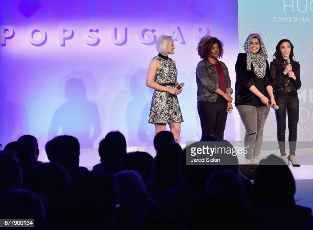 Lindsay Miller Akilah Hughes Amani AlKhatahtbeh and Meryl Davis speak on stage during the POPSUGAR 2017 Digital NewFront at Industria Studios on May...