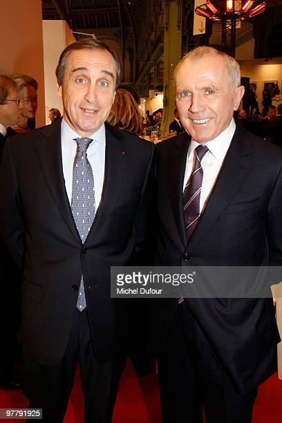 Lindsay OwenJones and Francois Pinault attend the Association 'Dessine l'Espoir' Charity Dinner during Art Paris Exhibition Launch at Grand Palais on...