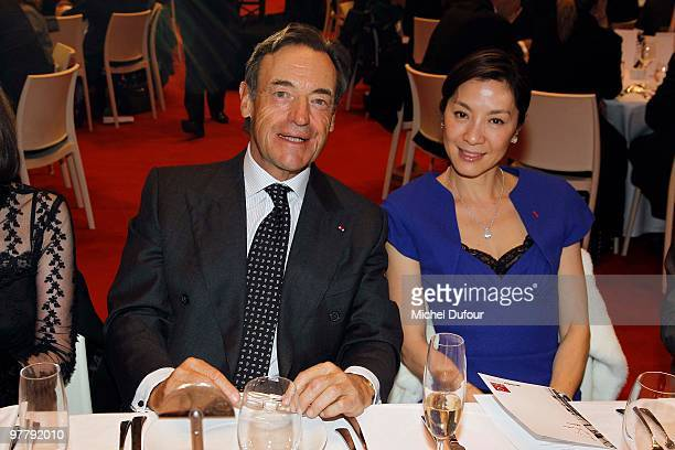 Lindsay OwenJones and Michelle Yeoh attend the Association 'Dessine l'Espoir' Charity Dinner during Art Paris Exhibition Launch at Grand Palais on...