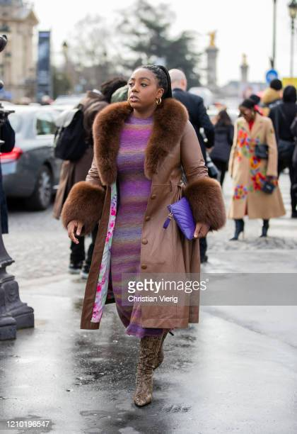 Lindsay Peoples Wagner is seen wearing brown coat outside Chanel during Paris Fashion Week - Womenswear Fall/Winter 2020/2021 : Day Nine on March 03,...