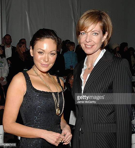 Lindsay Price and Allison Janney attend Pamella Roland Fall 2008 during MercedesBenz Fashion Week at The Salon Bryant Park on February 4 2008 in New...