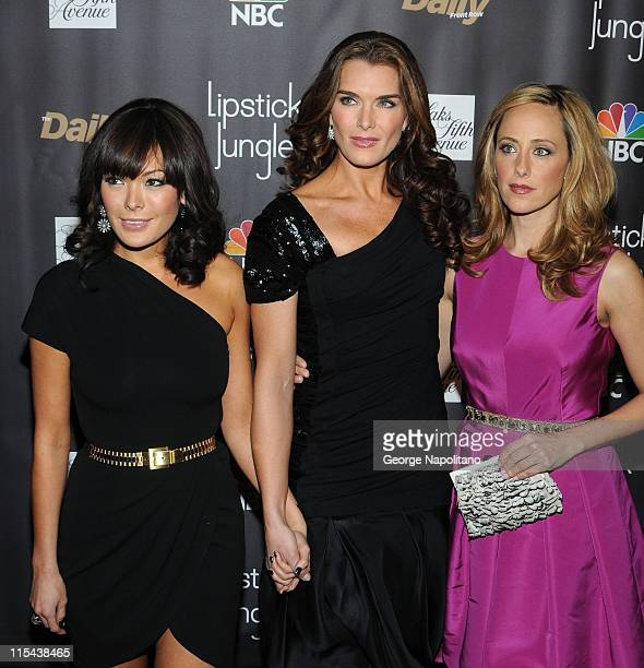 Lindsay Price Brooke Shields and Kim Raver arrive at Saks Fifth Avenue for NBC and Saks Fifth Avenue host Premiere of 'Lipstick Jungle' on January 31...