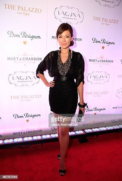 Lindsay Price celebrates the opening of Laguna Champagne Bar at The Palazzo on January 30 2010 in Las Vegas Nevada