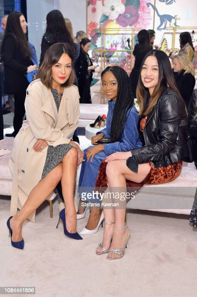 Lindsay Price, Skai Jackson and Yi Zhou attend Sergio Rossi & Elizabeth Stewart Celebrate Capsule Collection at Pop-Up at Westfield Century City on...