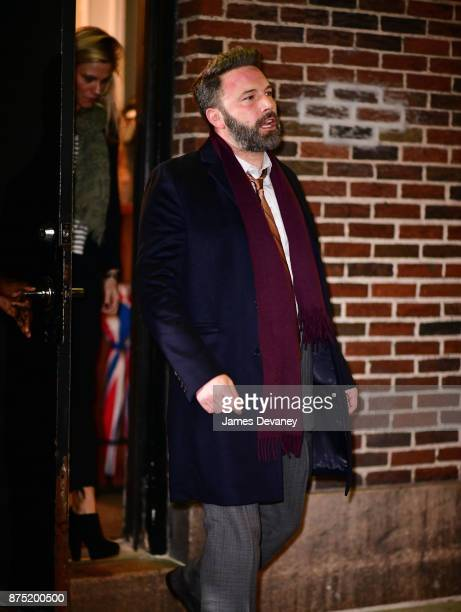 Lindsay Shookus and Ben Affleck leave 'The Late Show With Stephen Colbert' at the Ed Sullivan Theater on November 16 2017 in New York City