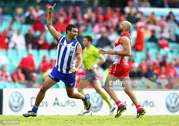 Lindsay Thomas of the Kangaroos celebrates a goal during the round four AFL match between the Sydney Swans and the North Melbourne Kangaroos at...