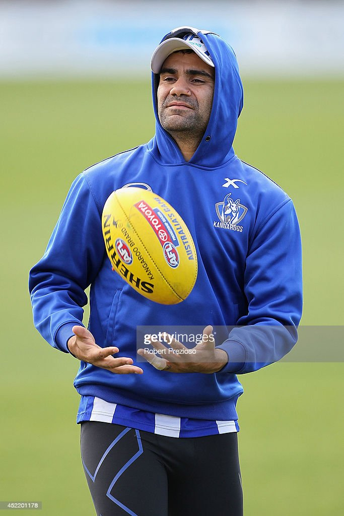 Lindsay Thomas takes a mark during a North Melbourne Kangaroos AFL media session at Arden Street Ground on July 16, 2014 in Melbourne, Australia.