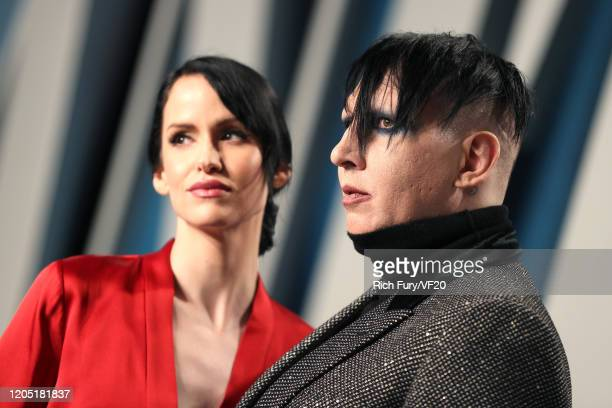 Lindsay Usich and Marilyn Manson attend the 2020 Vanity Fair Oscar Party hosted by Radhika Jones at Wallis Annenberg Center for the Performing Arts...