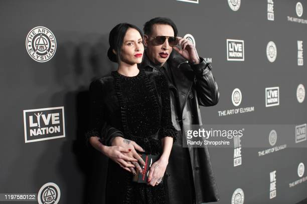 Lindsay Usich and Marilyn Manson attend The Art Of Elysium's 13th Annual Celebration Heaven at Hollywood Palladium on January 04 2020 in Los Angeles...