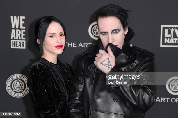 Lindsay Usich and Marilyn Manson attend The Art Of Elysium's 13th Annual Celebration Heaven on January 04 2020 in Los Angeles California