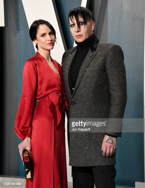 Lindsay Usich and Marilyn Manson attends the 2020 Vanity Fair Oscar Party hosted by Radhika Jones at Wallis Annenberg Center for the Performing Arts...