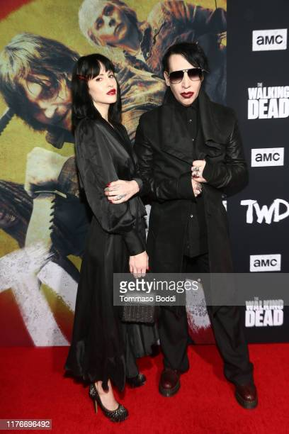 Lindsay Usich and Marilyn Manson attends The Walking Dead Premiere and Party on September 23 2019 in West Hollywood California