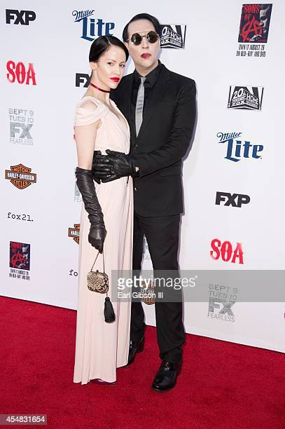 Lindsay Usich and musician Marilyn Manson attends FX's Sons Of Anarchy Premiere at TCL Chinese Theatre on September 6 2014 in Hollywood California