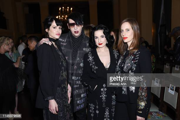 Lindsay Usich Marilyn Manson Dita Von Teese and Liz Goldwyn attend the Libertine Fall 2019 Runway Show at Ebell of Los Angeles on April 26 2019 in...