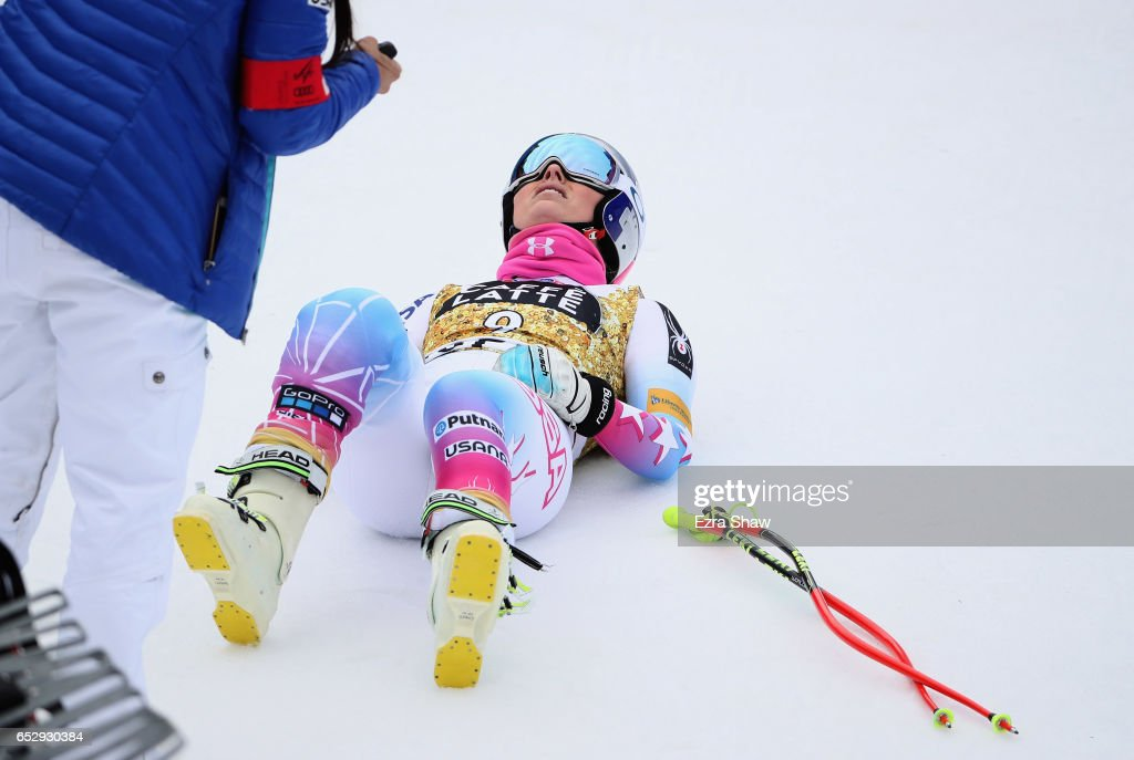 Lindsay Vonn of the United States lies on the snow after her training run for the ladies' downhill during the Audi FIS Ski World Cup Finals at Aspen Mountain on March 13, 2017 in Aspen, Colorado.