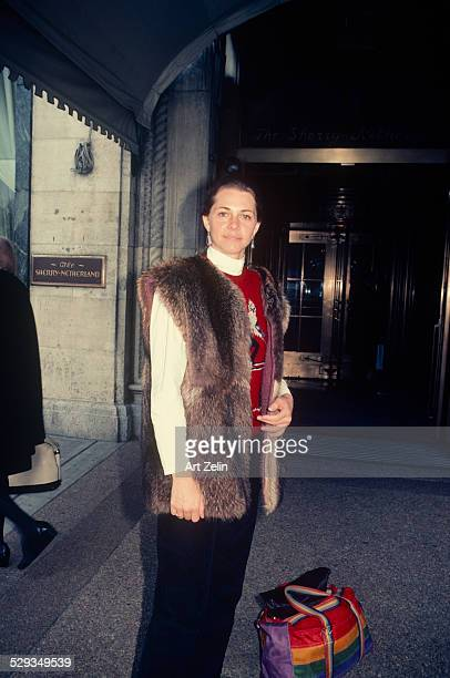 Lindsay Wagner wearing a fur vest at the SherryNetherland circa 1970 New York