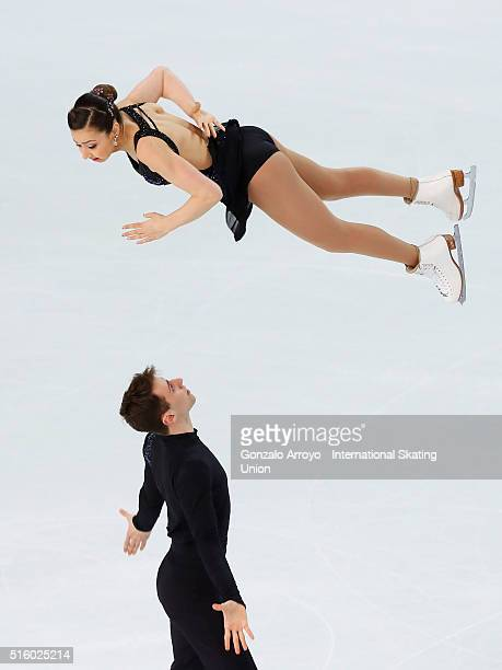 Lindsay Weinstein and Jacob Simon from USA skate during the pair's short program of the ISU World Junior Figure Skating Championships 2016 at The...