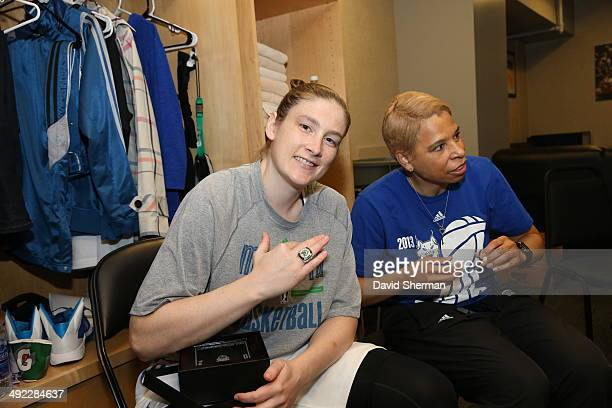 Lindsay Whalen and Assistant Coach Shelley Patterson of the Minnesota Lynx shows off the championship ring prior to the WNBA game on May 18 2014 at...