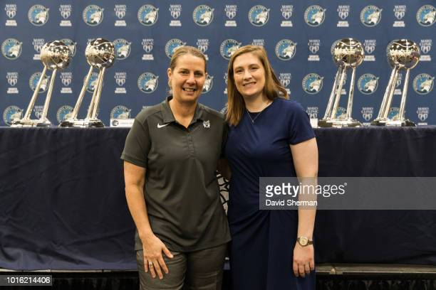 Lindsay Whalen and Head Coach Cheryl Reeve of the Minnesota Lynx announce Whalen's retirement at the end of the current WNBA season on August 13 2018...