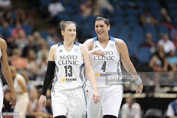 Lindsay Whalen and Janel McCarville Minnesota Lynx react to the play against the Los Angeles Sparks during the WNBA game on July 8 2014 at Target...