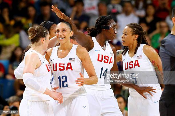 Lindsay Whalen Diana Taurasi Tina Charles Seimone Augustus of United States celebrate a play during the Women's Gold Medal Game between United States...