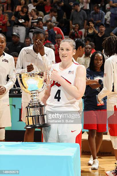 Lindsay Whalen of the 2012 US Women's Senior National Team accepts the Tiffany and Co Player of the Game Award after playing against the Brazilian...