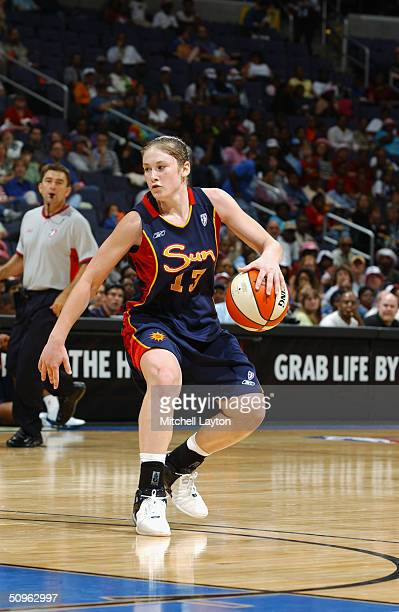 Lindsay Whalen of the Connecticut Sun dribbles the ball against the Washington Mystics during the game at MCI Center on June 4 2004 in Washington DC...