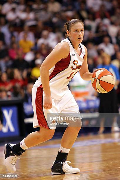Lindsay Whalen of the Connecticut Sun in action against the Seattle Storm in Game 1 of the WNBA Finals on October 8, 2004 at the Mohegan Sun Arena in...