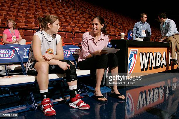Lindsay Whalen of the Connecticut Sun is interviewed by Rebecca Lobo during media availability prior to game 2 of the WNBA Finals at Mohegan Sun...
